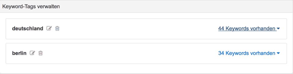 Mit Keyword Tags kann man seine Keywörter beispielsweise nach verschiedenen Stadtteilen kategorisieren