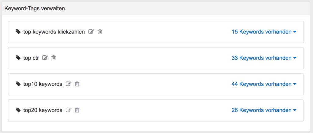 Die Tags im Search Console Tool erlauben es dir die Daten aus der Search Console in Kategorien einzuteilen
