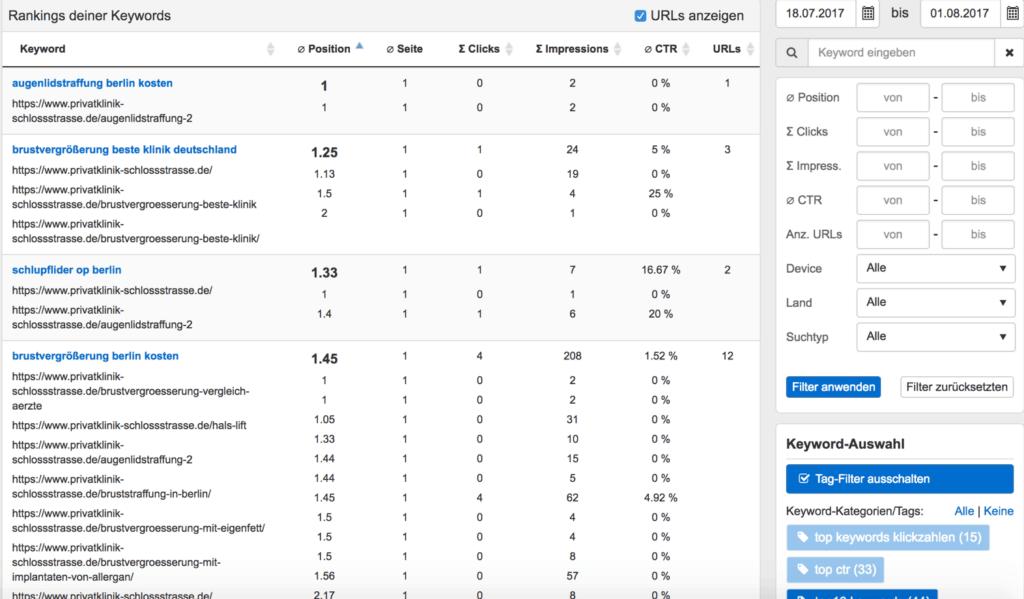 Mit Hilfe der Search Console bietet dir Pagerangers eine Auswertung direkt von der Quelle