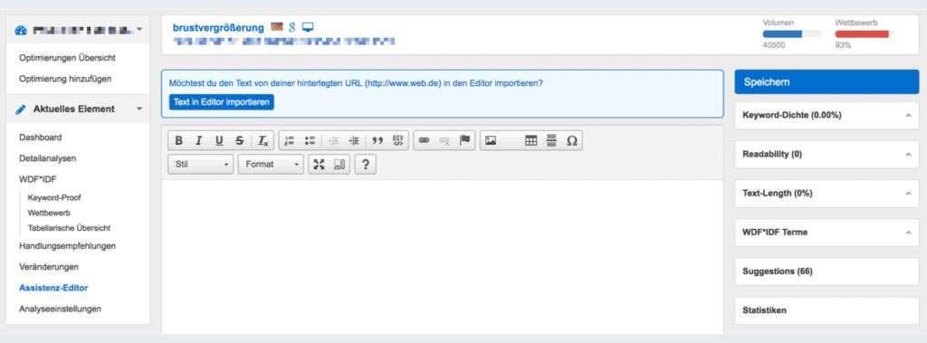 Der Assistenz Editor von Pagerangers ist ein nützliches Tool zum Analysieren der Texte