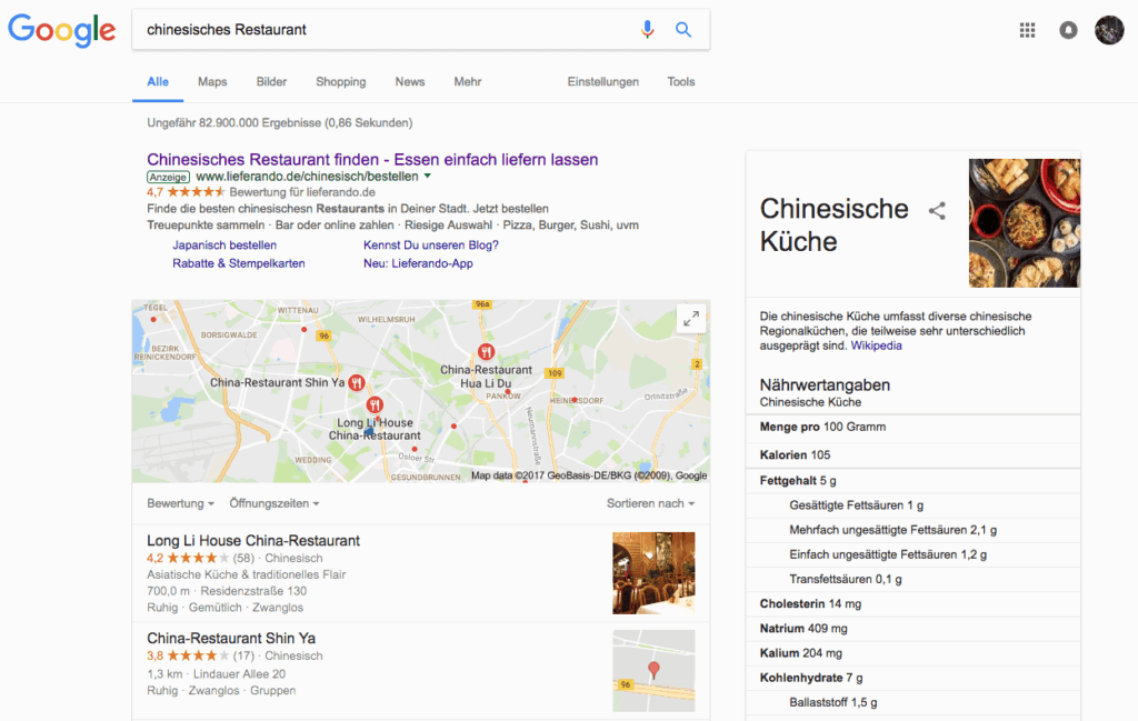 Ein Beispiel für die Darstellung eines China Restaurants in Google Maps