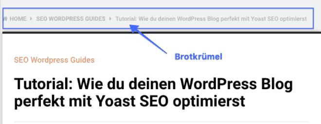 Wie Breadcrumbs in deinem WordPress Blog aussehen