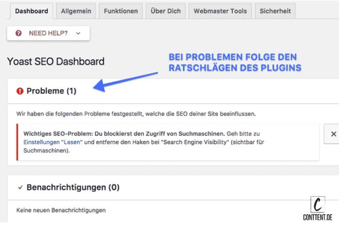 Der Screenshot zeigt das Yoast SEO Dashboard in WordPress