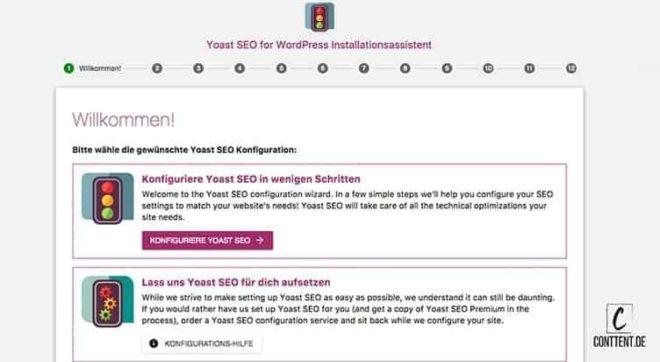Screenshot vom Yoast SEO WordPress Installationsassistent