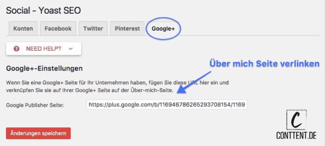 Wie du Google+ für die Social Yoast SEO Einstellungen konfigurierst