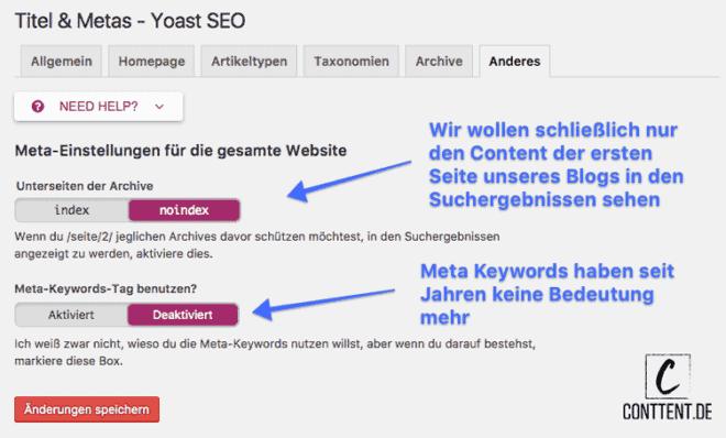 Unterseiten von Archiven und Meta Keyword-Tags sollten nicht in WordPress indexiert werden