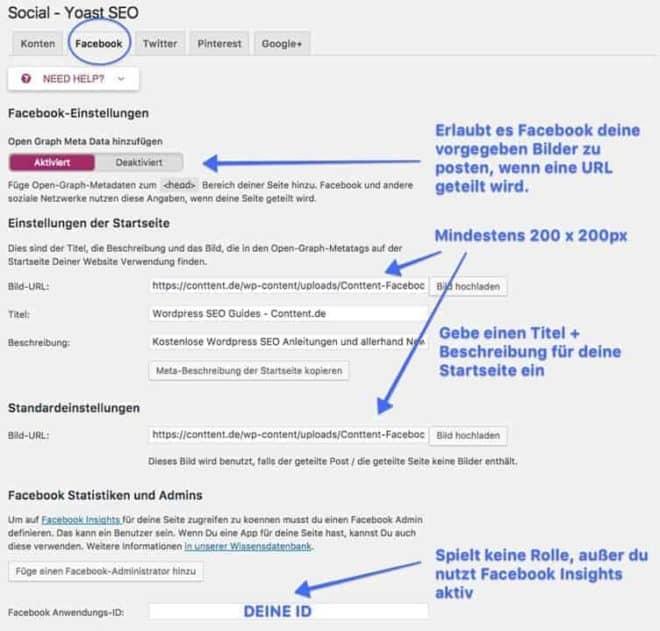 Wie du Facebook für die Social Yoast SEO Einstellungen konfigurierst