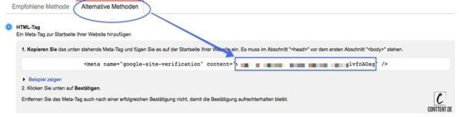 Der Screenshot zeigt wo du das HTML Tag findest um deine Seite in Yoast mit WebmasterTools zu verbinden