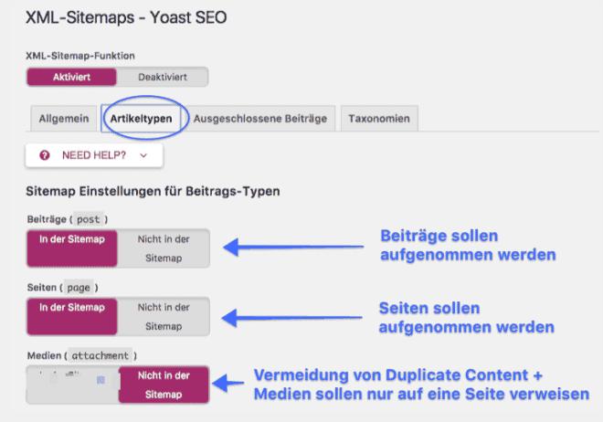 Auf dem Bild: Welche Artikeltypen bei Yoast SEO in die Sitemap aufgenommen werden sollen