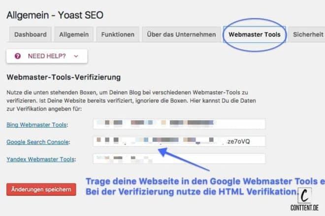 Das Bild zeigt wie du die WebmasterTools in Yoast SEO einfügst