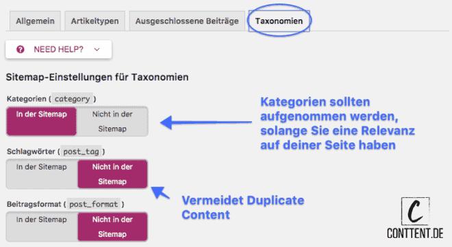 Wordpress Yoast SEO Tutorial: Welche Taxonomien in die Sitemap aufgenommen werden sollten