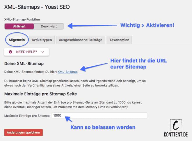 Das Bild zeigt die Grundeinstellungen der XML Sitemaps in YOAST SEO