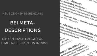 Zeichenbegrenzung Meta Description 2018