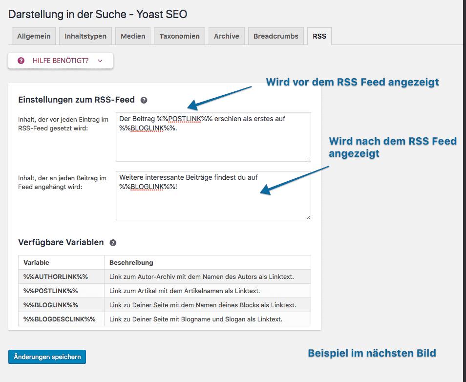 Fortgeschrittene Optionen in Yoast SEO: Die richtigen Einstellungen für den WordPress RSS Feed
