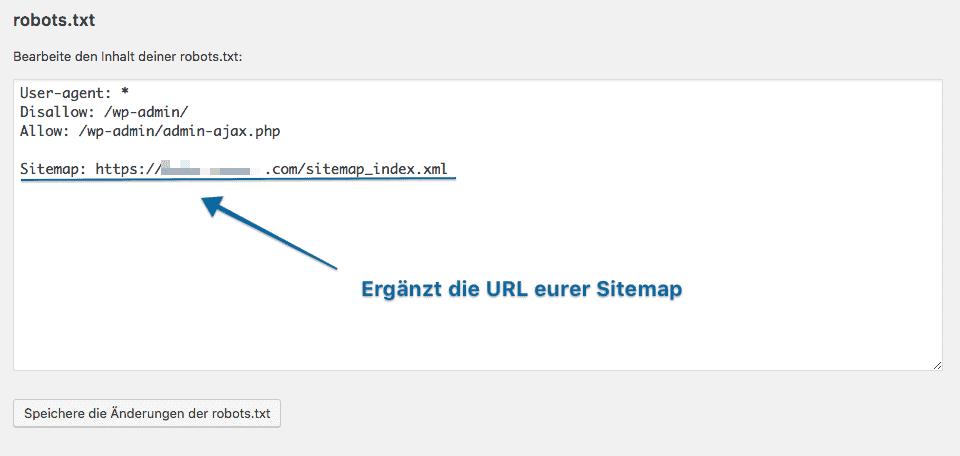 Tutorial wie die Sitemap mit der Hilfe von Yoast SEO in die robots.txt eingetragen wird