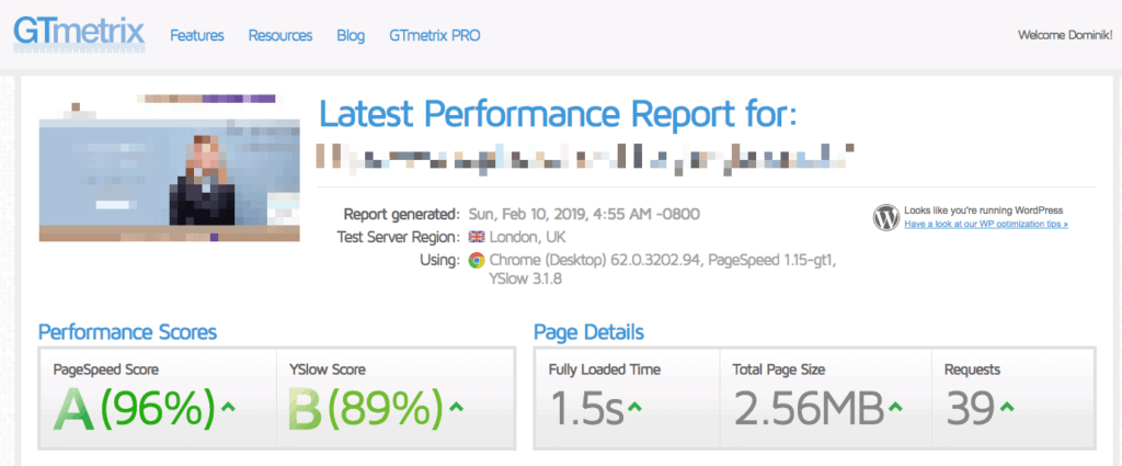WPengine Testergebnis mit GTmetrix.com