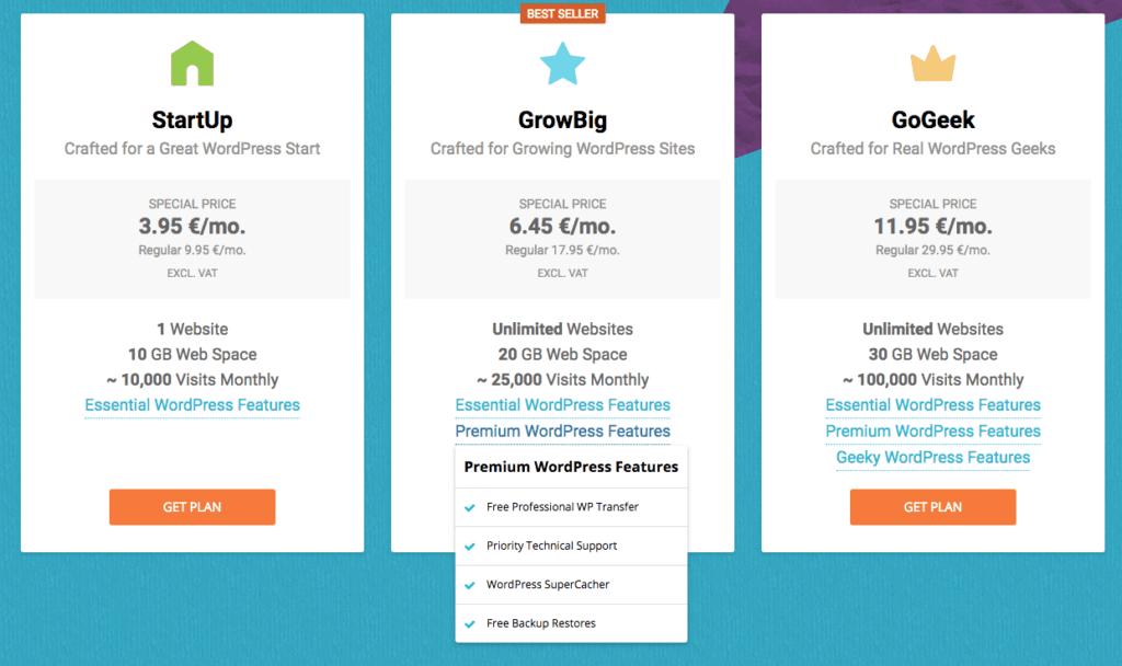 Diese Preise zahlt Ihr für ein WordPress-Hosting auf Siteground.com