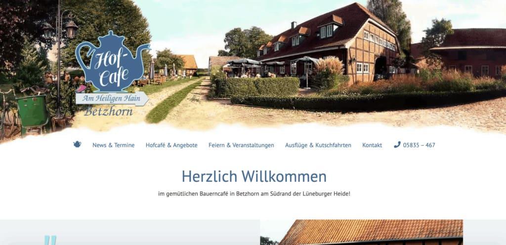 Webseite des Hofcafe´s Betzhorn