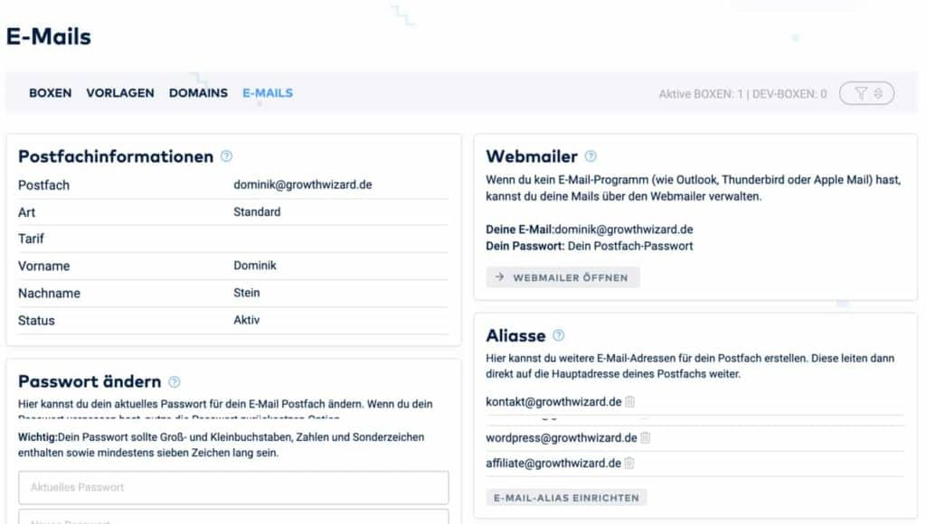 Email Webhosting über Raidboxes.io