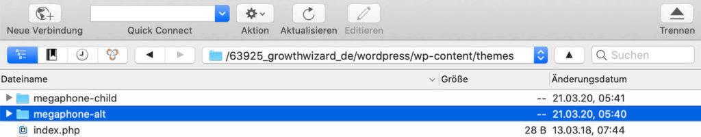 Wordpress Theme im FTP umbenennen