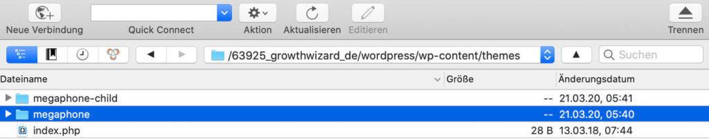 FTP Pfad WordPress Theme