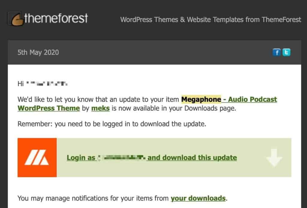 ThemeForest benachrichtigt über WordPress Theme Update