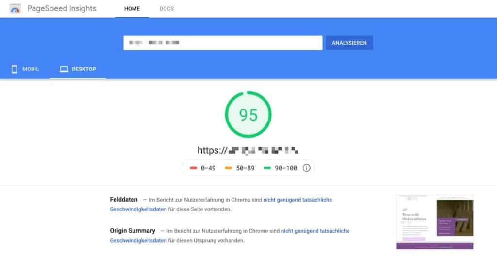 Google Pagespeed Insights Score nach Optimierung durch WP-Rocket