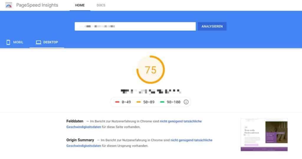 Google Pagespeed Insights Score vor Optimierung durch WP-Rocket