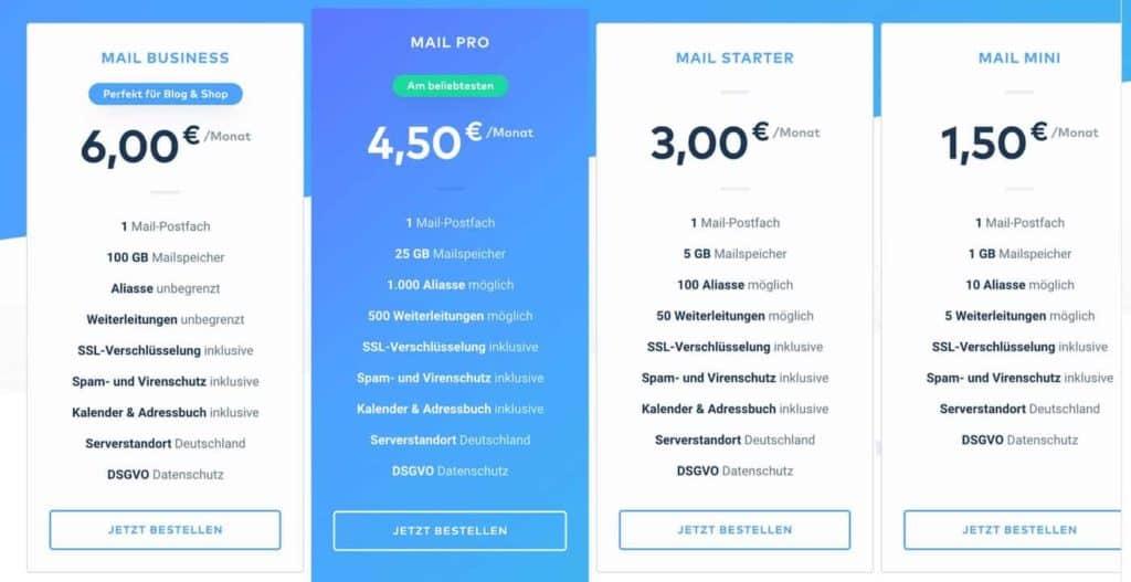 Preise für das Email Hosting bei Raidboxes