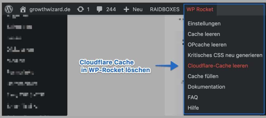 WP-Rocket Cloudflare Cache leeren