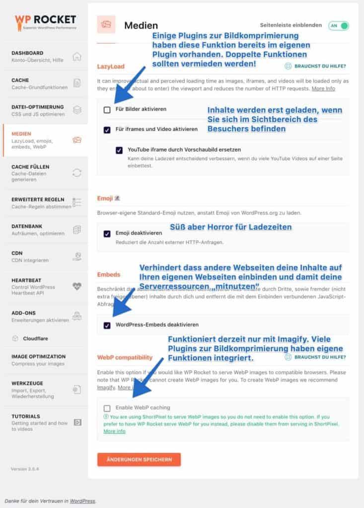 WP-Rocket Medien Einstellungen