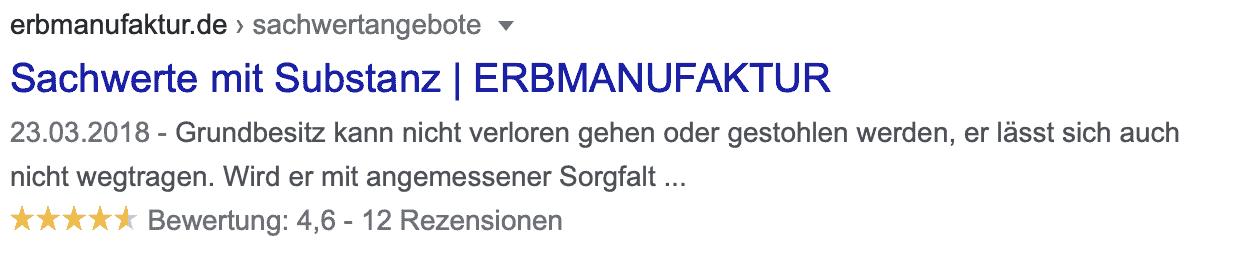 Google Sterne Suchergebnisse